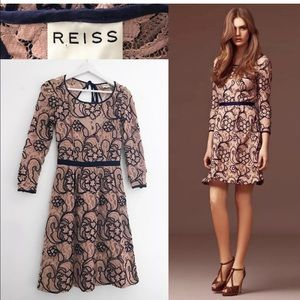Reiss Esther dress nude blue lace